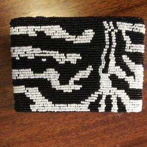 Hand beaded black and white change/card pouch